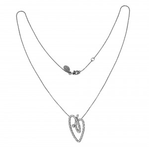 Joli Cœur necklace, choker chain, heart pendant, black gold, white diamond paving,