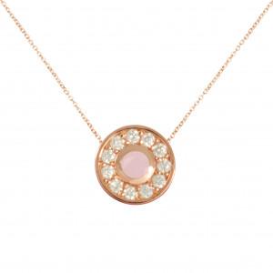 """Marelle à Marbella"", chain necklace, pendant, small round cabochon, Pink Opal, white diamonds, rose gold,"