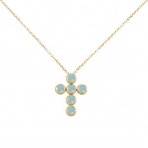 """Marelle à Marbella"", chain necklace, Cross Pendant, Milky blue Aquamarines, cabochon cut, yellow gold,"