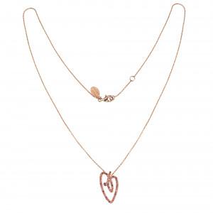 Joli Cœur necklace, choker chain, heart pendant, rose gold, paving with red topazes, pink topazes, orange topazes,