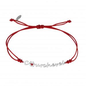 Globe-Trotter, Courchevel bracelet, 925 silver, white rhodium, nylon cord,