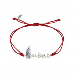 Globe-Trotter, Dubai bracelet Dubaï, 925 silver, white rhodium, nylon cord,