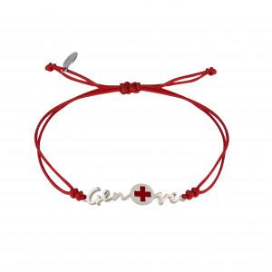 Globe-Trotter, Geneva bracelet, 925 silver, white rhodium, nylon cord,