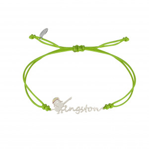 Globe-Trotter, Kingston bracelet, 925 silver, white rhodium, nylon cord,
