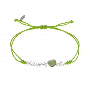 Globe-Trotter, New-York bracelet, 925 silver, white rhodium, nylon cord,