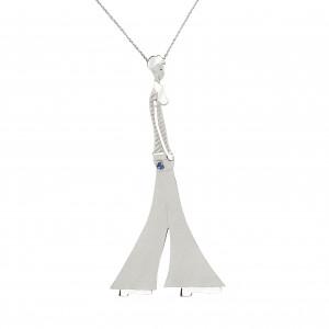 """Parizou -Parizette"", ""Parizou""  Chain Pendant, Satiny Finish And Polished Silver, blue Swarovski gemstone"