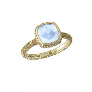 Pills, guilloched ring, yellow gold-plated 925 silver, faceted blue topaz, cushion size,