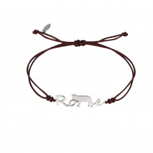 Globe-Trotter, Rome bracelet, 925 silver, white rhodium, nylon cord,