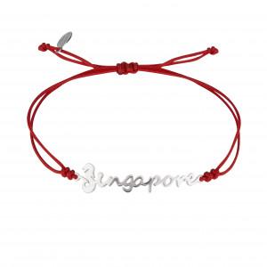Globe-Trotter, Singapore bracelet, 925 silver, white rhodium, nylon cord,