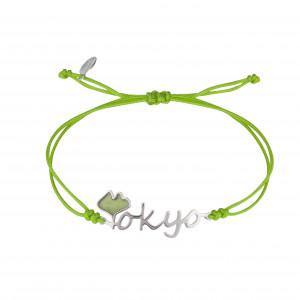 Globe-Trotter, Tokyo bracelet, 925 silver, white rhodium, nylon cord,