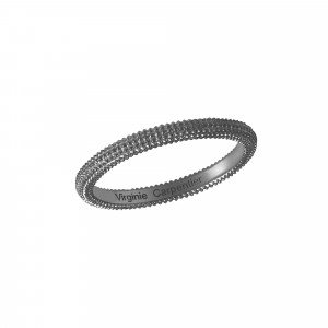 Pills, guilloched ring, silver 925, black rhodium