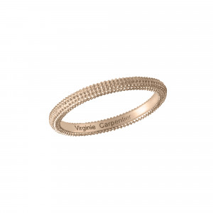 Pills, guilloched ring, 18k pink gold