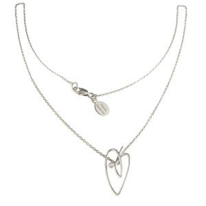 Joli Cœur necklace, choker chain, heart pendant, white gold, white diamond,
