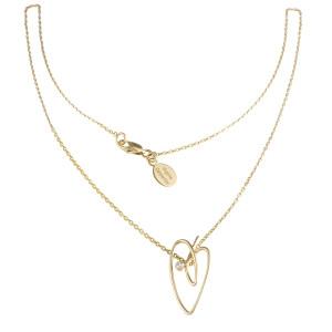 Joli Cœur necklace, choker chain, heart pendant, rose gold, white diamond,