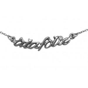 Choker chain 'alafolie', black gold, white diamond,