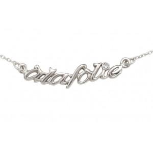 Choker chain 'alafolie', white gold, white diamond,