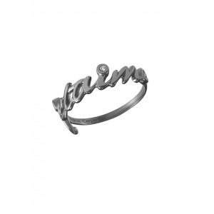 """""""jetaime"""", ring, wedding ring, black gold, white diamonds,"""