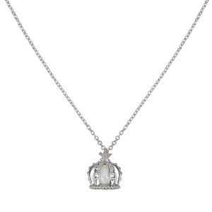 Princesse Tipois chain pendant, crown, silver 925,  fresh water pearl