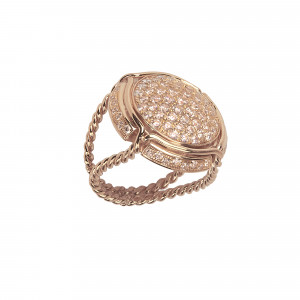 Champ !, signet ring, paving Champagne diamonds, twisted ring, rose gold, 18 kt,