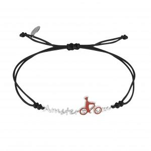 Globe-Trotter, Amsterdam bracelet, 925 silver, white rhodium, nylon cord,