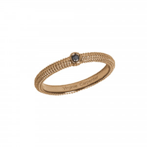 Pills, guilloched Ring, Pink Silver Gilt, black Diamond