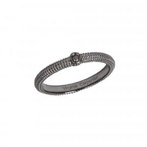 Pills, guilloched Ring, Silver 925, Black Rhodium, black Diamond
