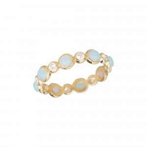 Marelle à Marbella wedding ring, Milky Aqua Marine cabochons, white diamonds, yellow gold