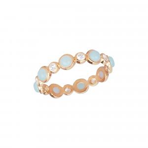 Marelle à Marbella wedding ring, Milky Aquamarine cabochons, white diamonds, pink gold