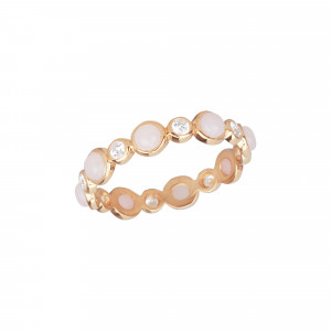 Marelle à Marbella wedding ring, Pink Opal cabochons, white diamonds, pink gold