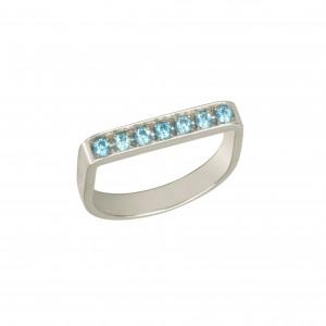 """Baby Candy"", stirrup ring, white rhodium-plated 925 silver, blue Swarovski stones,"