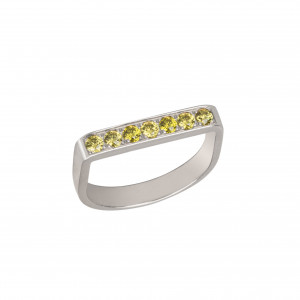 """""""Baby Candy"""", Stirrup Ring, white gold, green topazes,"""