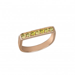 """""""Baby Candy"""", Stirrup Ring, rose gold, green topazes,"""
