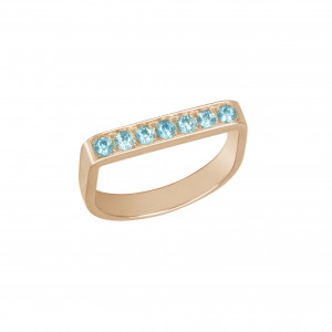 """""""Baby Candy"""", Stirrup Ring, rose gold, blue topazes, """"ice blue"""","""