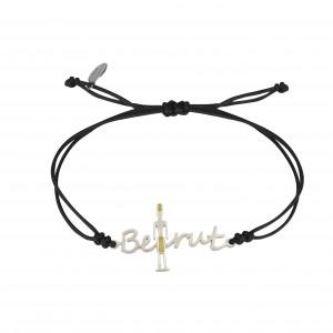 Globe-Trotter, Beirut bracelet, 925 silver, white rhodium, nylon cord,