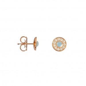 Marelle à Marbella, earrings, Milky Aquamarine cabochon, white diamonds, pink gold