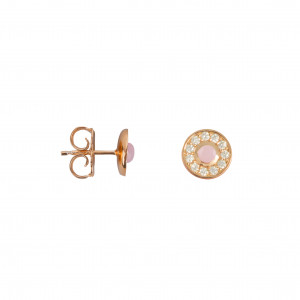 Marelle à Marbella, earrings, Pink Opal cabochon, white diamonds, pink gold