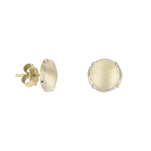 Champ!, ear chips, satin yellow gold, mini-capsules, muselet, white gold, 18 kt,