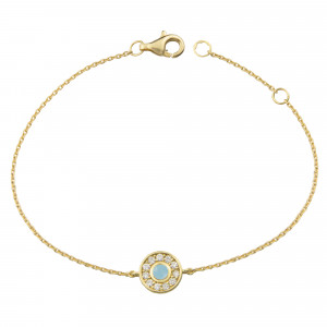 Marelle à Marbella, Chain bracelet, Milky Aquamarine cabochon, white diamonds, yellow gold
