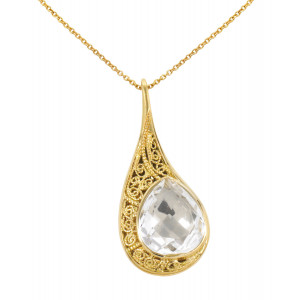 """La larme du Crocodile"", ""The Crocodile Tear"", necklace chain, pendant, filigree, yellow gold, Rock Crystal, faceted, pear cut,"