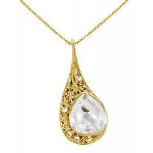 """La larme du Crocodile"", ""The Crocodile Tear"", necklace chain, pendant, filigree, yellow gold, Rock Crystal, faceted, pear cut, white diamonds,"