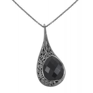 """La larme du Crocodile"", ""The Crocodile Tear"", necklace chain, pendant, filigree, black gold, black Onyx, faceted, pear cut,"