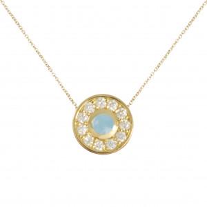 Marelle à Marbella chain pendant, Milky Aquamarine cabochon, white diamonds, yellow gold