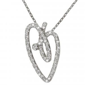 Joli Cœur necklace, choker chain, heart pendant, white gold, white diamond paving,