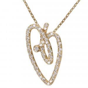 Joli Cœur necklace, choker chain, heart pendant, yellow gold, white diamond paving,