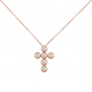 Marelle à Marbella, chain necklace, Cross Pendant, Moon Stone, cabochon cut, pink gold