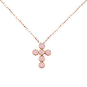 """Marelle à Marbella"", chain necklace, Cross Pendant, Pink Opals, cabochon cut, rose gold,"