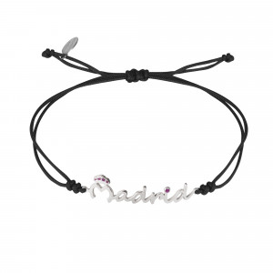 Globe-Trotter, Madrid bracelet, 925 silver, white rhodium, nylon cord,