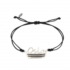 Globe-Trotter, Oslo bracelet, 925 silver, white rhodium, nylon cord,