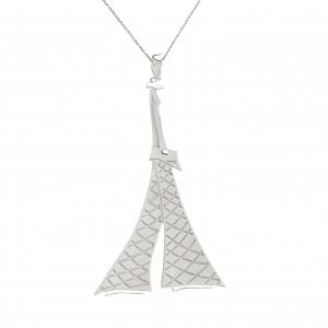 """""""Parizou -Parizette"""", chain, """"Parizette"""" pendant, satiny finish and polished silver"""