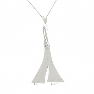 """Parizou -Parizette"", chain, ""Parizou"" pendant, satiny finish and polished silver"